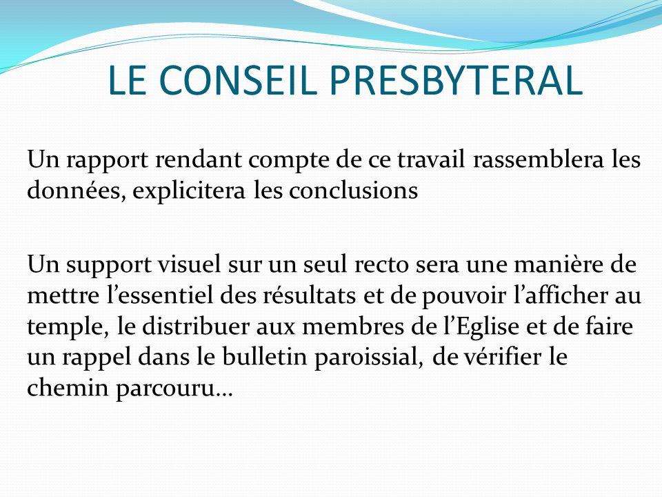 LE CONSEIL PRESBYTERAL Un rapport rendant compte de ce travail rassemblera les données, explicitera les conclusions Un support visuel sur un seul rect