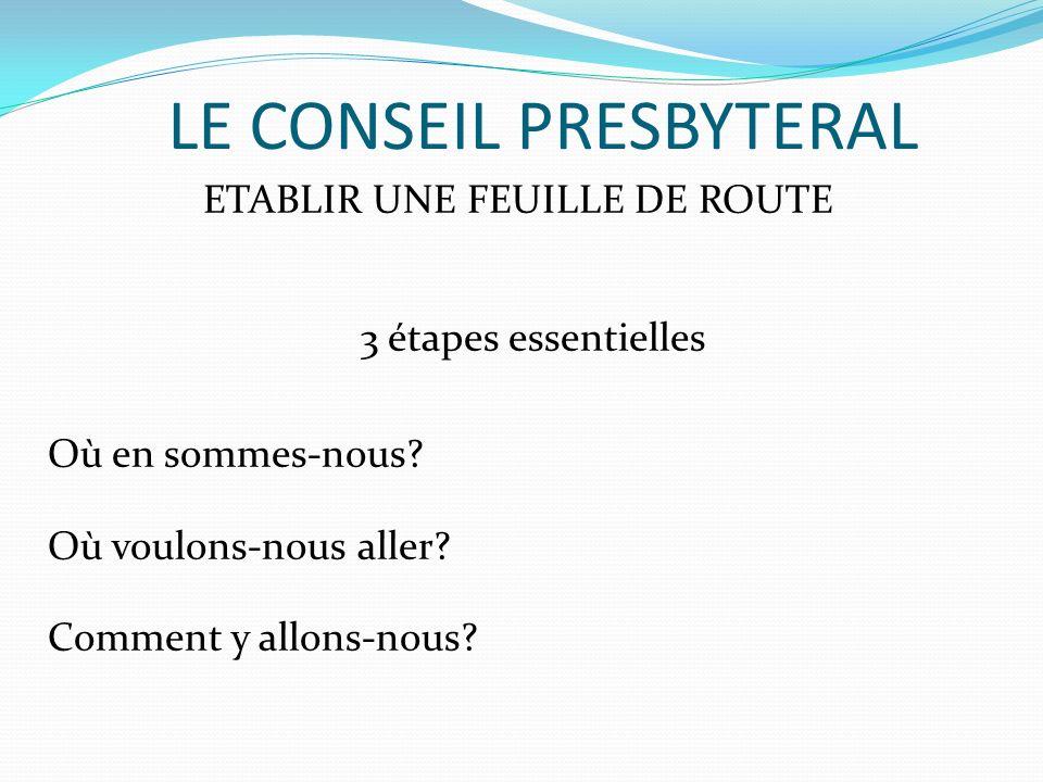 LE CONSEIL PRESBYTERAL ETABLIR UNE FEUILLE DE ROUTE 3 étapes essentielles Où en sommes-nous? Où voulons-nous aller? Comment y allons-nous?