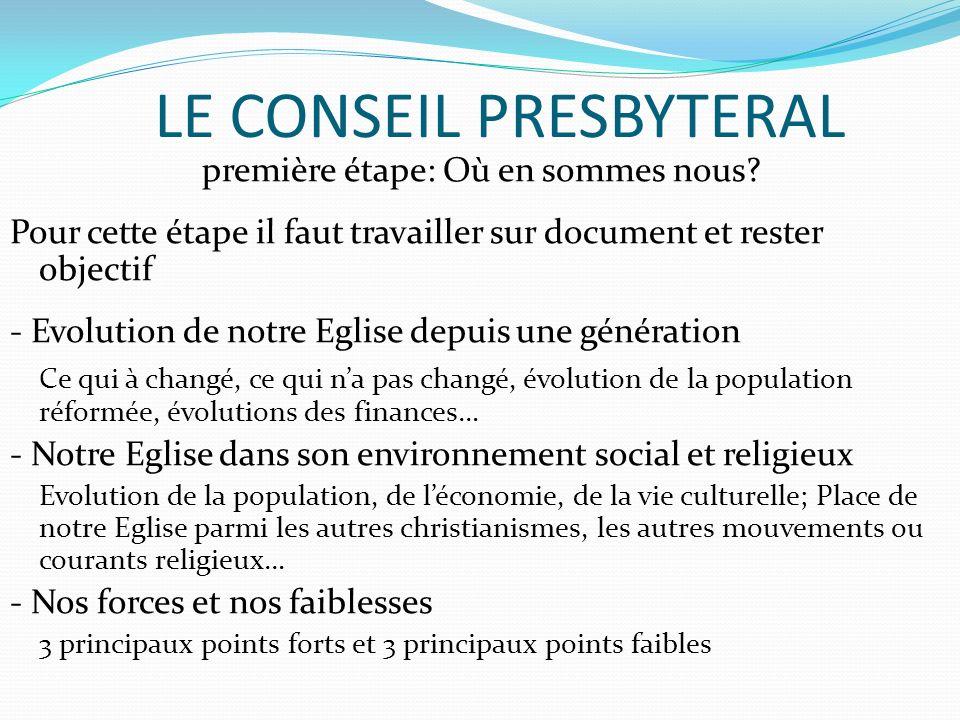 LE CONSEIL PRESBYTERAL première étape: Où en sommes nous? Pour cette étape il faut travailler sur document et rester objectif - Evolution de notre Egl
