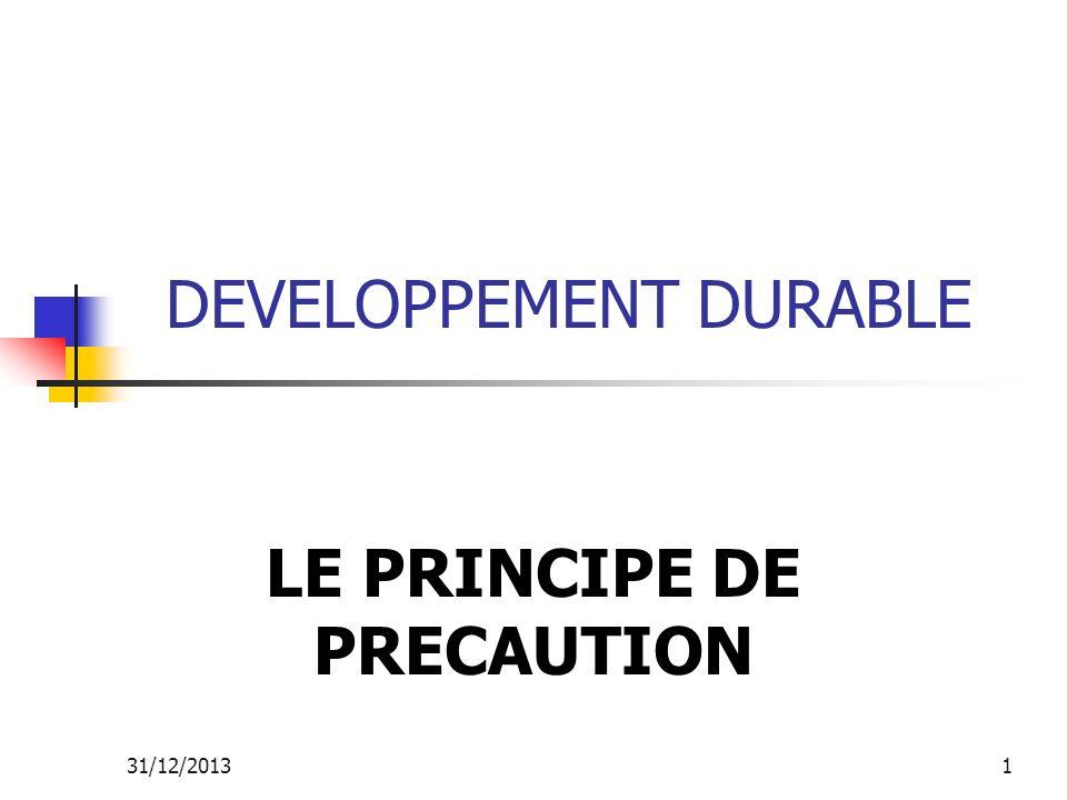 31/12/20132 LE PRINCIPE DE PRECAUTION Le concept: On ne peut pas, face à certains risques, attendre dêtre face au problème pour réagir.
