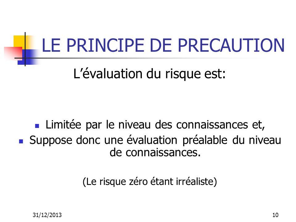 31/12/201310 LE PRINCIPE DE PRECAUTION Lévaluation du risque est: Limitée par le niveau des connaissances et, Suppose donc une évaluation préalable du