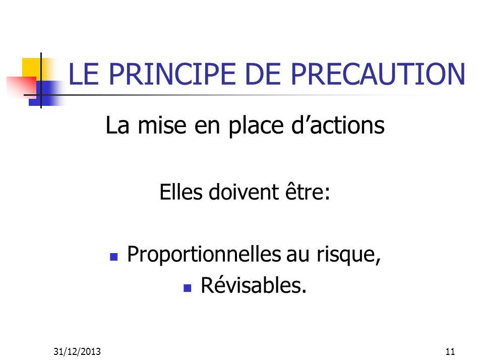 31/12/201311 LE PRINCIPE DE PRECAUTION La mise en place dactions Elles doivent être: Proportionnelles au risque, Révisables.