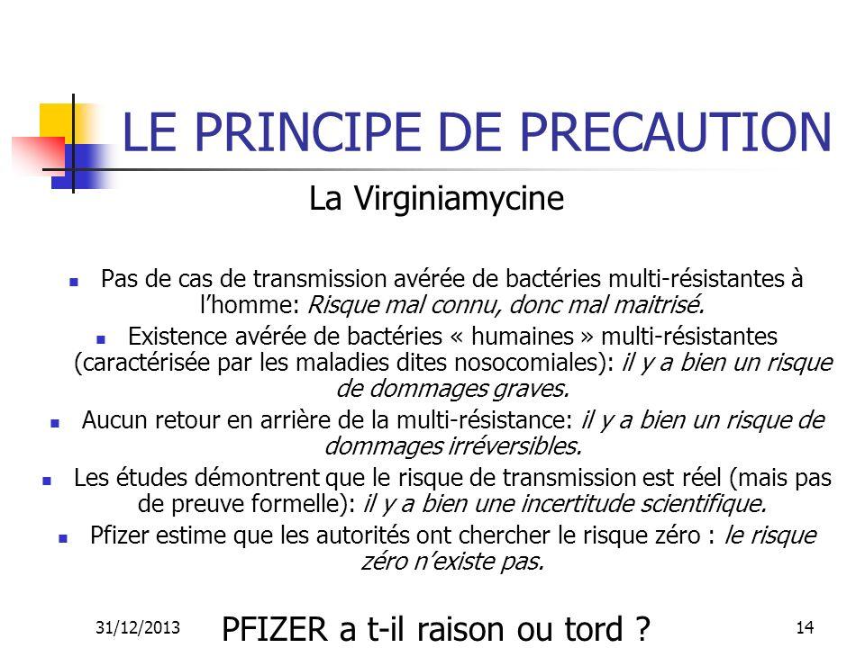 31/12/201314 LE PRINCIPE DE PRECAUTION La Virginiamycine Pas de cas de transmission avérée de bactéries multi-résistantes à lhomme: Risque mal connu,