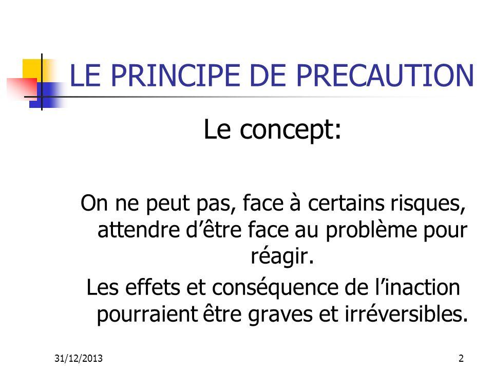 31/12/201313 LE PRINCIPE DE PRECAUTION Exemples dapplication du principe de précaution: La Virginiamycine La fièvre aphteuse www.e- sige.ensmp.fr/cms/libre/edd/module3/index.php?page=com posantes02