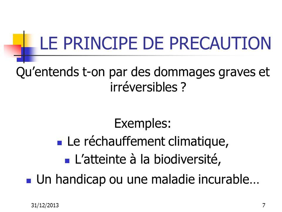 31/12/20137 LE PRINCIPE DE PRECAUTION Quentends t-on par des dommages graves et irréversibles ? Exemples: Le réchauffement climatique, Latteinte à la