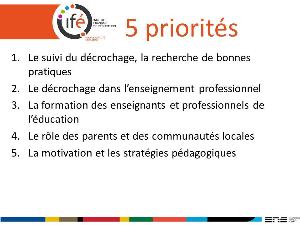 5 priorités 1.Le suivi du décrochage, la recherche de bonnes pratiques 2.Le décrochage dans lenseignement professionnel 3.La formation des enseignants et professionnels de léducation 4.Le rôle des parents et des communautés locales 5.La motivation et les stratégies pédagogiques