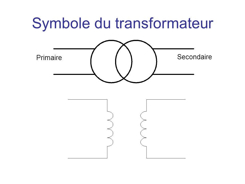Symbole du transformateur Entréeorti e Primaire Secondaire