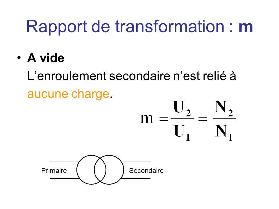 Rapport de transformation : m A vide Lenroulement secondaire nest relié à aucune charge. PrimaireSecondaire