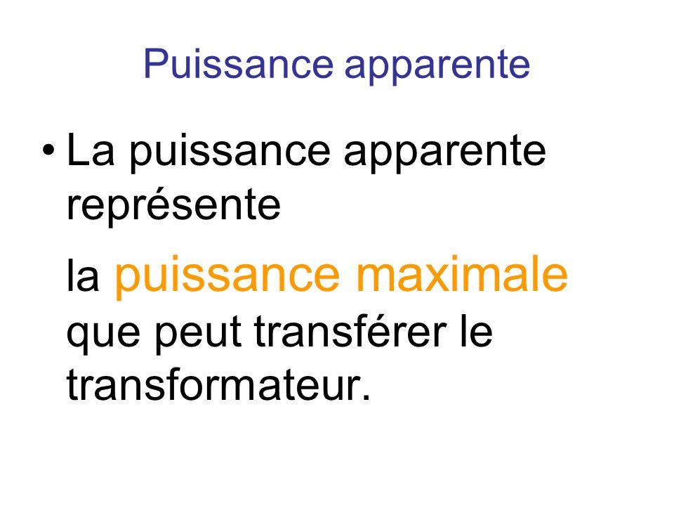 La puissance apparente représente la puissance maximale que peut transférer le transformateur.