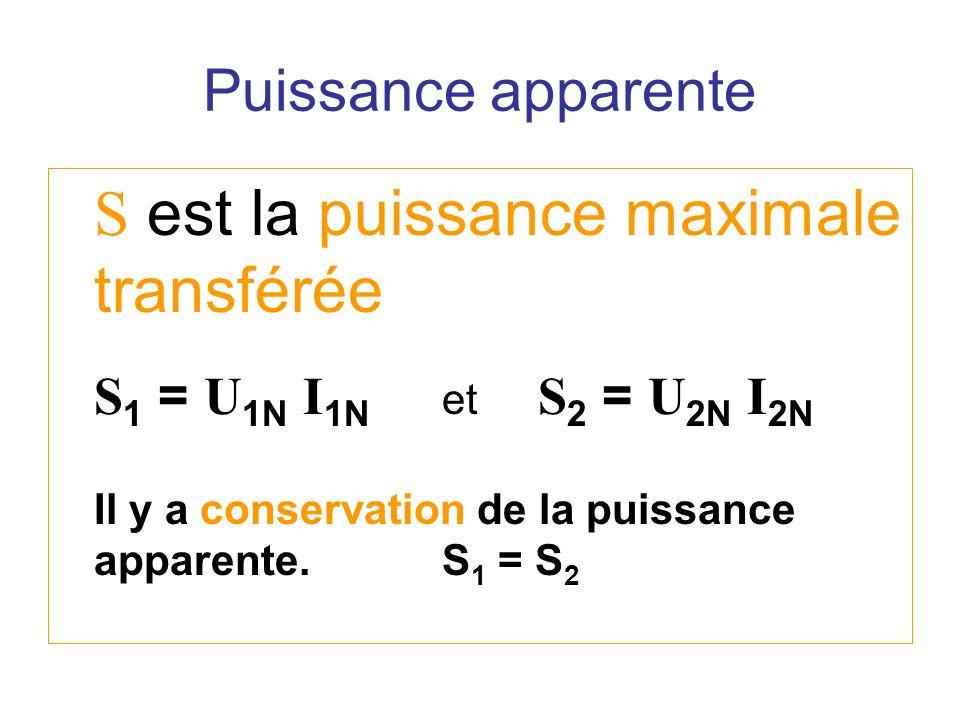 S est la puissance maximale transférée S 1 = U 1N I 1N et S 2 = U 2N I 2N Il y a conservation de la puissance apparente.S 1 = S 2