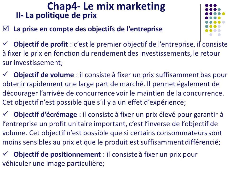 Chap4- Le mix marketing II- La politique de prix La prise en compte des objectifs de lentreprise Objectif de profit : cest le premier objectif de lent