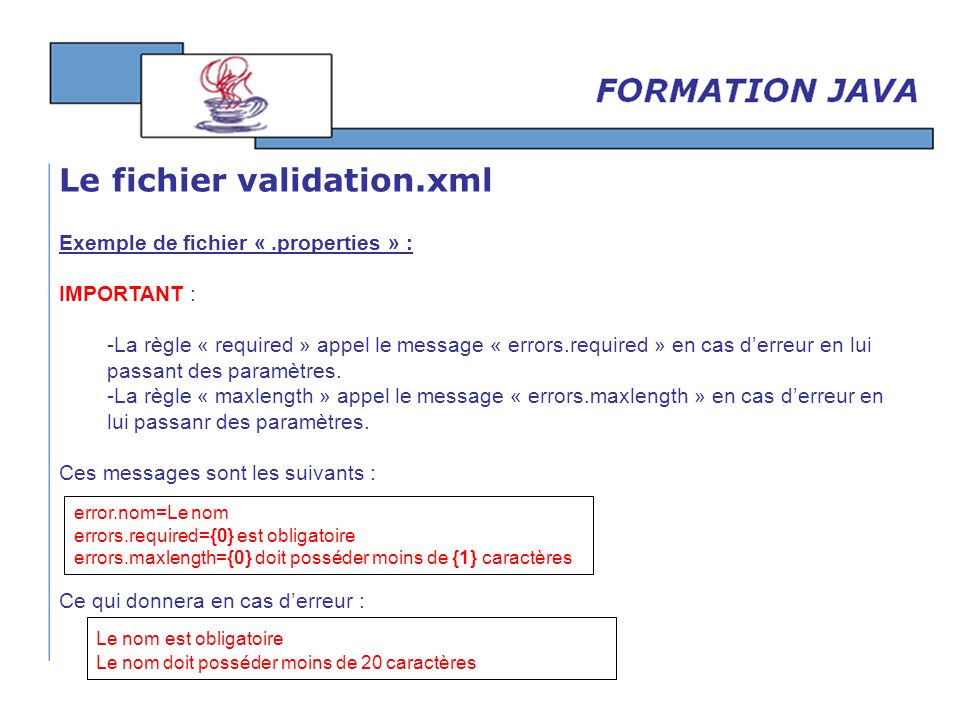 Exemple de fichier «.properties » : IMPORTANT : -La règle « required » appel le message « errors.required » en cas derreur en lui passant des paramètr