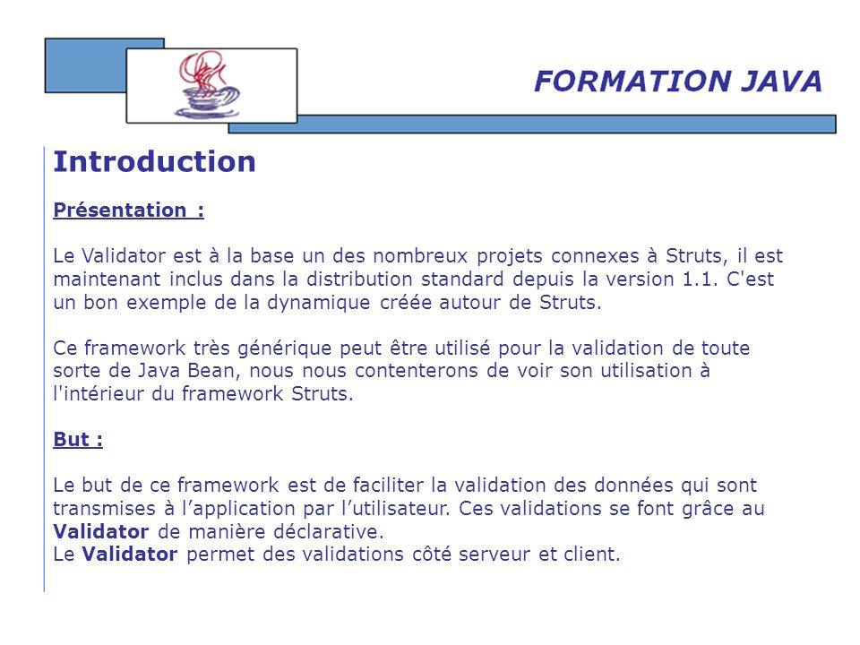 Présentation : Le Validator est à la base un des nombreux projets connexes à Struts, il est maintenant inclus dans la distribution standard depuis la