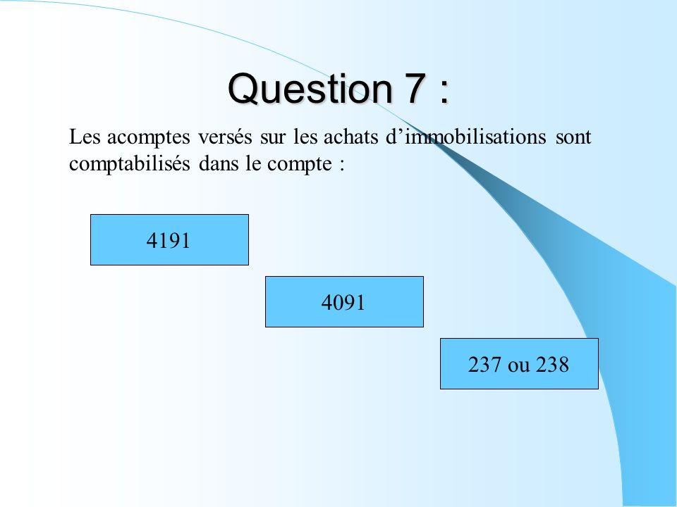 Question 7 : Les acomptes versés sur les achats dimmobilisations sont comptabilisés dans le compte : 4191 4091 237 ou 238