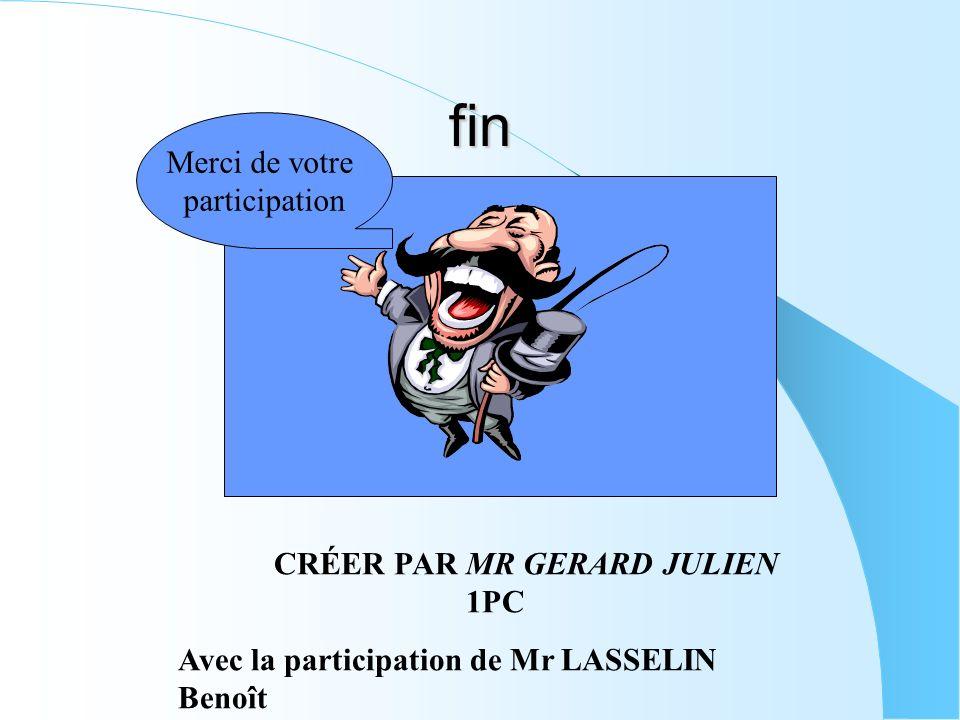 fin CRÉER PAR MR GERARD JULIEN 1PC Avec la participation de Mr LASSELIN Benoît Merci de votre participation
