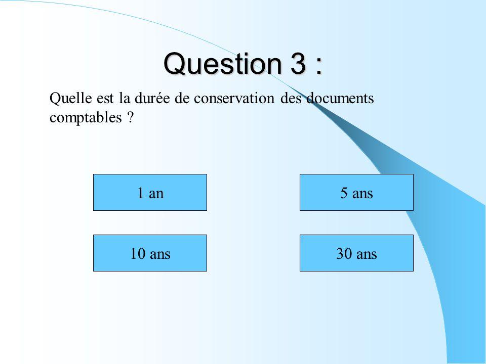Question 3 : Quelle est la durée de conservation des documents comptables ? 10 ans30 ans 5 ans1 an