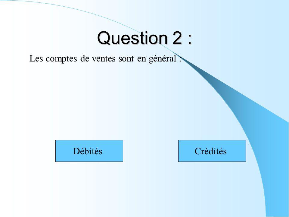 Question 2 : Les comptes de ventes sont en général : DébitésCrédités
