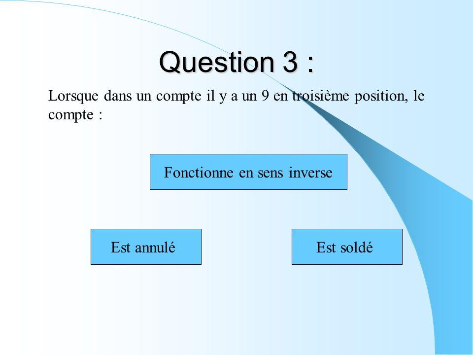 Question 3 : Lorsque dans un compte il y a un 9 en troisième position, le compte : Fonctionne en sens inverse Est soldéEst annulé