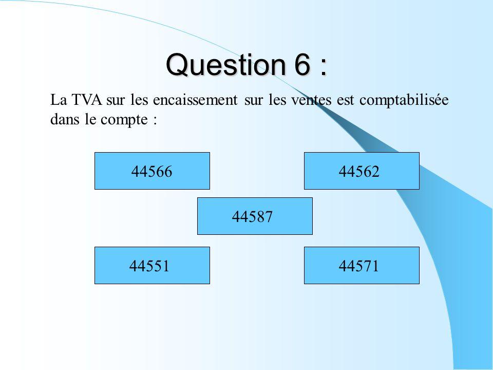 Question 6 : La TVA sur les encaissement sur les ventes est comptabilisée dans le compte : 4455144571 44587 4456644562
