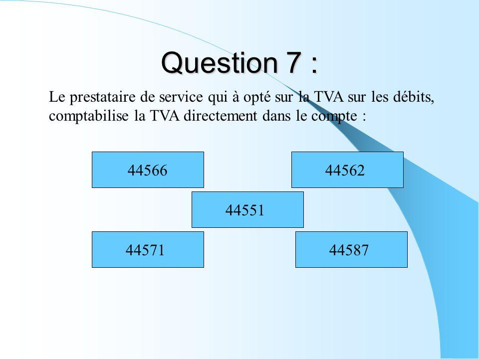 Question 7 : Le prestataire de service qui à opté sur la TVA sur les débits, comptabilise la TVA directement dans le compte : 4457144587 44551 4456244
