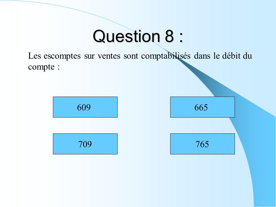Question 8 : Les escomptes sur ventes sont comptabilisés dans le débit du compte : 709765 665609