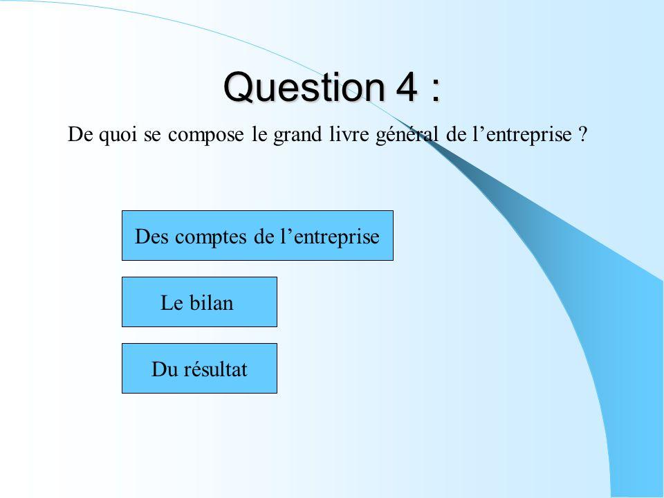 Question 4 : De quoi se compose le grand livre général de lentreprise ? Des comptes de lentreprise Du résultat Le bilan