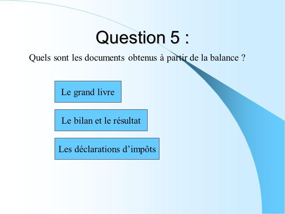 Question 5 : Quels sont les documents obtenus à partir de la balance ? Les déclarations dimpôts Le bilan et le résultat Le grand livre