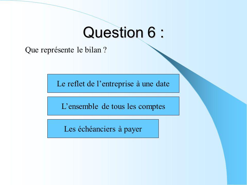 Question 6 : Que représente le bilan ? Les échéanciers à payer Lensemble de tous les comptes Le reflet de lentreprise à une date