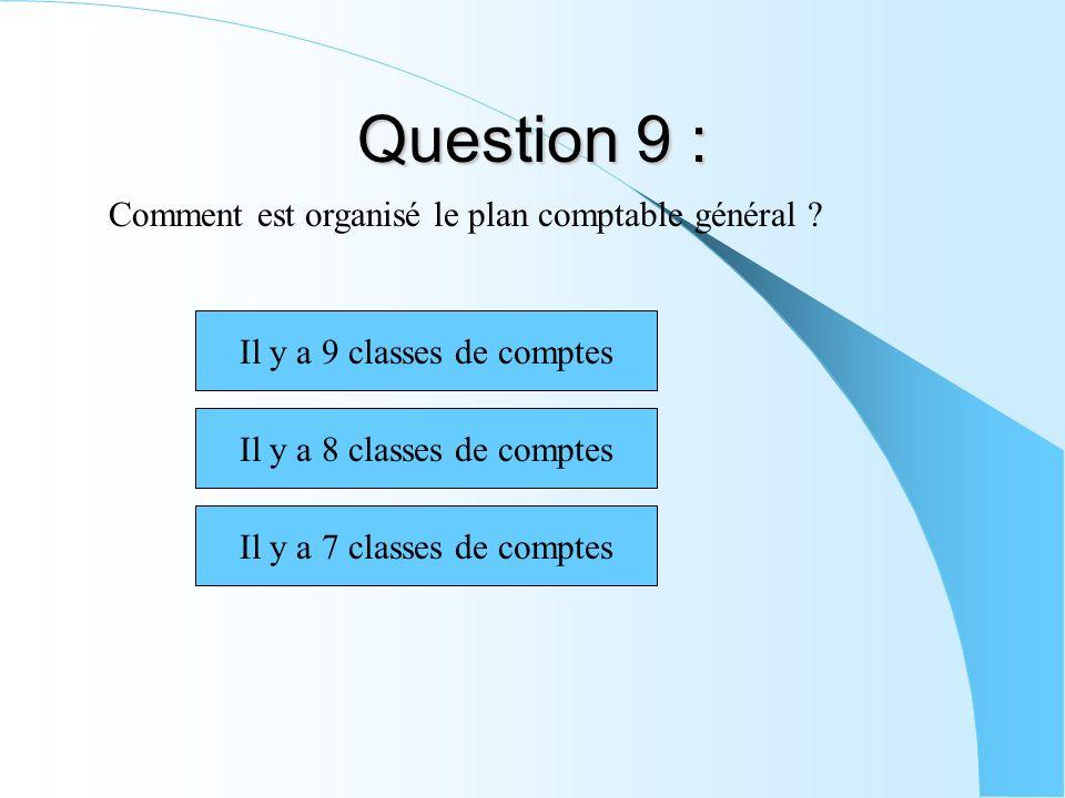 Question 9 : Comment est organisé le plan comptable général ? Il y a 9 classes de comptes Il y a 8 classes de comptes Il y a 7 classes de comptes