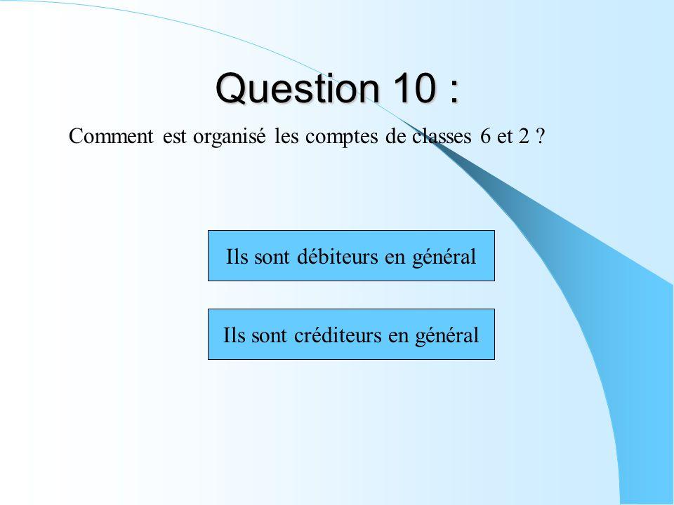 Question 10 : Comment est organisé les comptes de classes 6 et 2 ? Ils sont débiteurs en général Ils sont créditeurs en général
