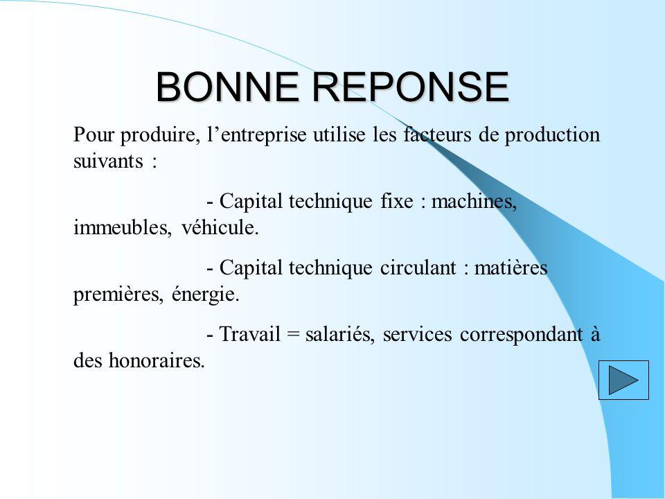 BONNE REPONSE Pour produire, lentreprise utilise les facteurs de production suivants : - Capital technique fixe : machines, immeubles, véhicule. - Cap