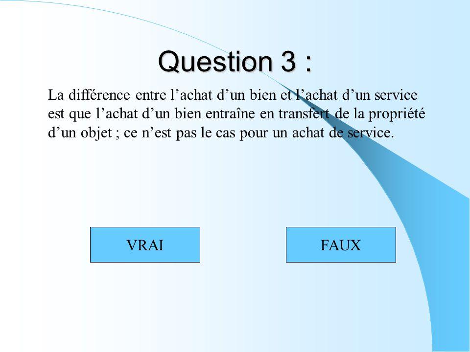 Question 3 : La différence entre lachat dun bien et lachat dun service est que lachat dun bien entraîne en transfert de la propriété dun objet ; ce nest pas le cas pour un achat de service.