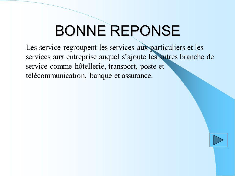 BONNE REPONSE Les service regroupent les services aux particuliers et les services aux entreprise auquel sajoute les autres branche de service comme hôtellerie, transport, poste et télécommunication, banque et assurance.