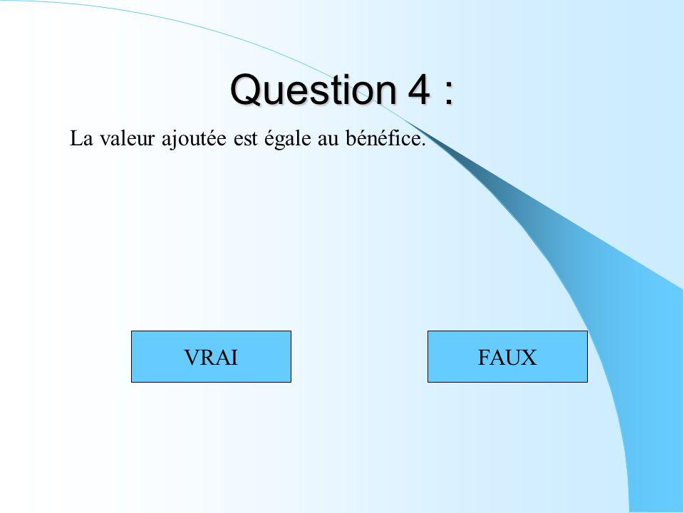 Question 4 : La valeur ajoutée est égale au bénéfice. VRAIFAUX