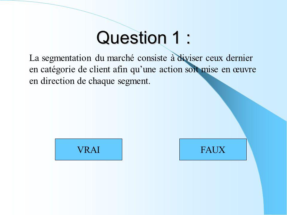 Question 1 : La segmentation du marché consiste à diviser ceux dernier en catégorie de client afin quune action soit mise en œuvre en direction de chaque segment.