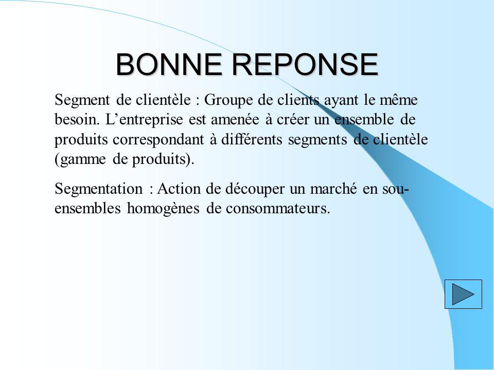 BONNE REPONSE Segment de clientèle : Groupe de clients ayant le même besoin.