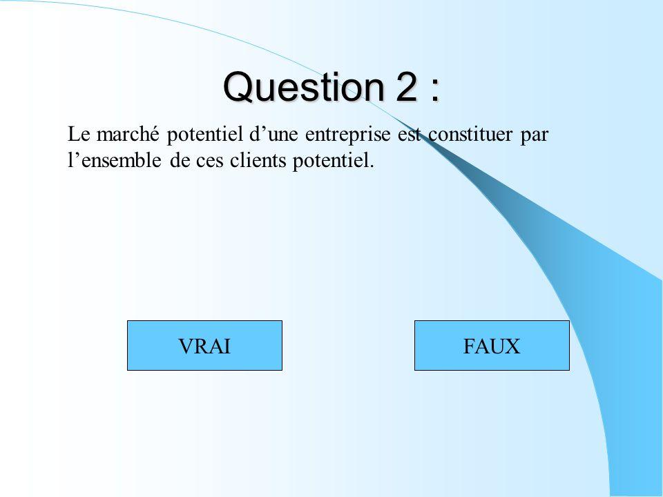 Question 2 : Le marché potentiel dune entreprise est constituer par lensemble de ces clients potentiel. VRAIFAUX