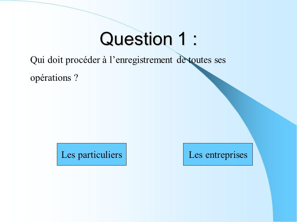 Question 1 : Qui doit procéder à lenregistrement de toutes ses opérations ? Les particuliersLes entreprises