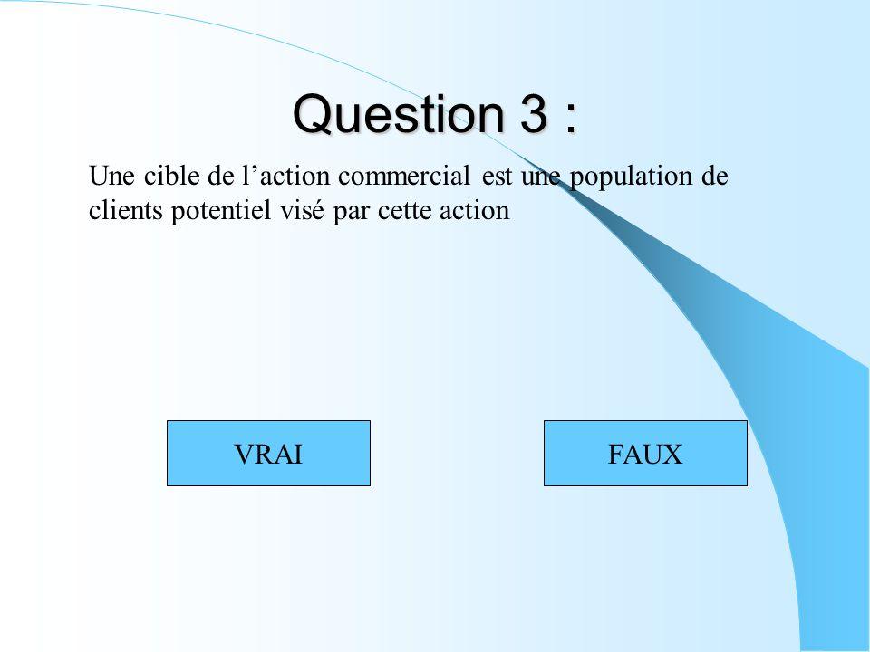 Question 3 : Une cible de laction commercial est une population de clients potentiel visé par cette action VRAIFAUX