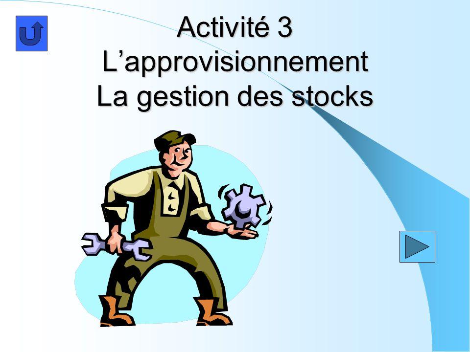 Activité 3 Lapprovisionnement La gestion des stocks