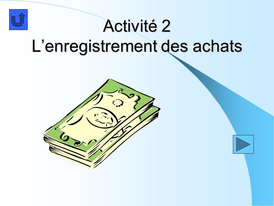 Activité 2 Lenregistrement des achats