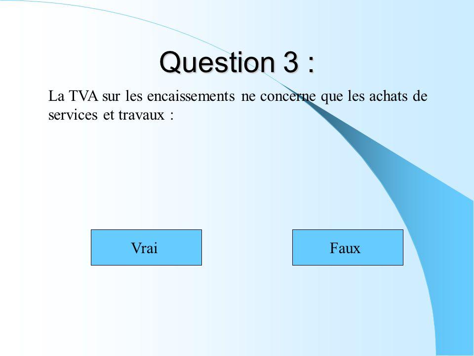 Question 3 : La TVA sur les encaissements ne concerne que les achats de services et travaux : VraiFaux