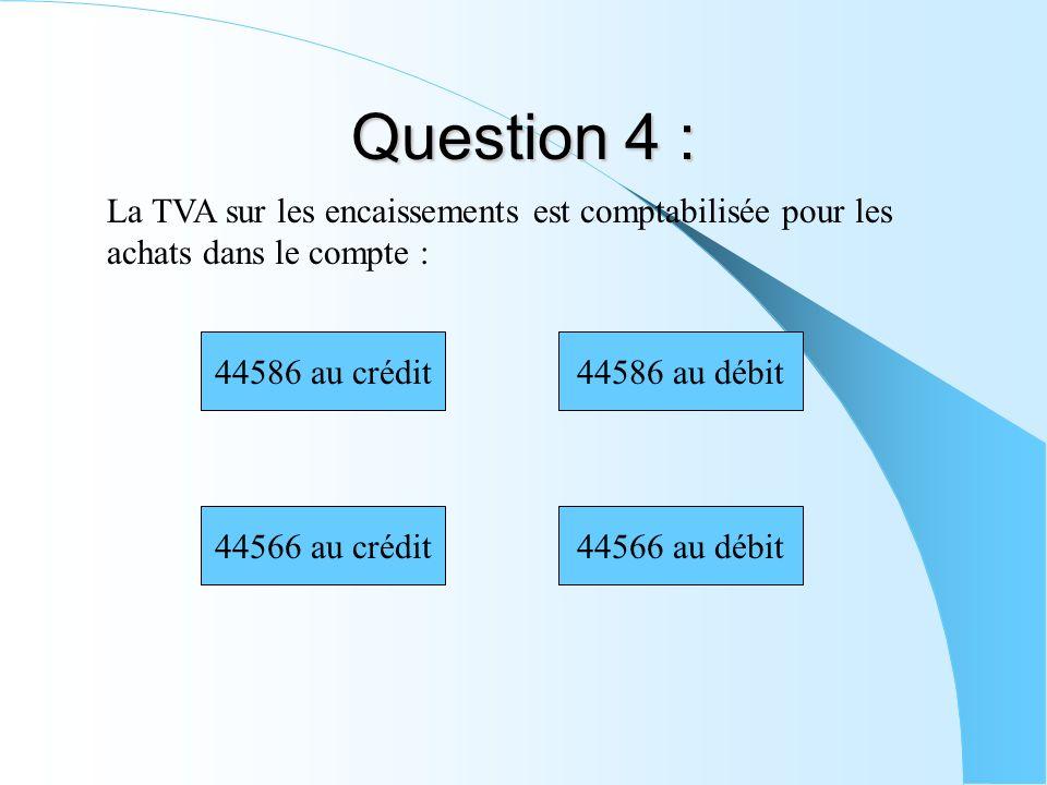 Question 4 : La TVA sur les encaissements est comptabilisée pour les achats dans le compte : 44566 au crédit 44586 au crédit44586 au débit 44566 au dé