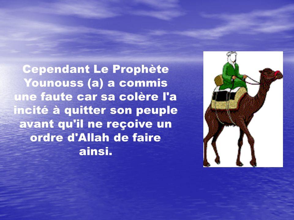 Cependant Le Prophète Younouss (a) a commis une faute car sa colère l'a incité à quitter son peuple avant qu'il ne reçoive un ordre d'Allah de faire a
