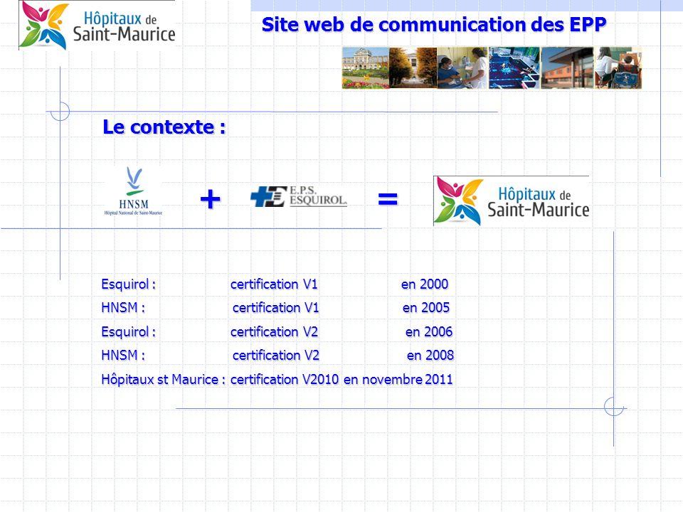 Site web de communication des EPP += Le contexte : Esquirol : certification V1 en 2000 HNSM : certification V1 en 2005 Esquirol : certification V2 en