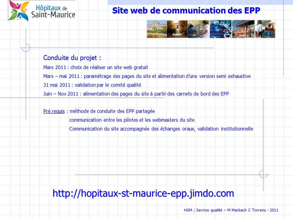 HSM / Service qualité – M Marbach C Torrens - 2011 Site web de communication des EPP Conduite du projet : Mars 2011 : choix de réaliser un site web gr
