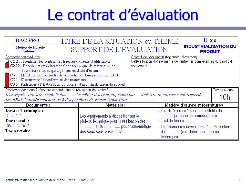 Le contrat dévaluation Séminaire national des Métiers de la Mode – Paris – 7 mai 2009 8 Il sagit là des principales étapes que le candidat devra respecter; Le questionnement et les documents à renseigner seront insérés dans la chemise A3 qui constituera le dossier dévaluation du candidat.