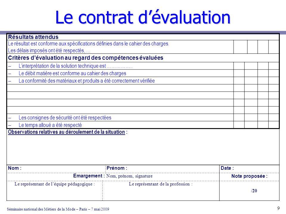 Le contrat dévaluation Séminaire national des Métiers de la Mode – Paris – 7 mai 2009 9 Résultats attendus Le résultat est conforme aux spécifications