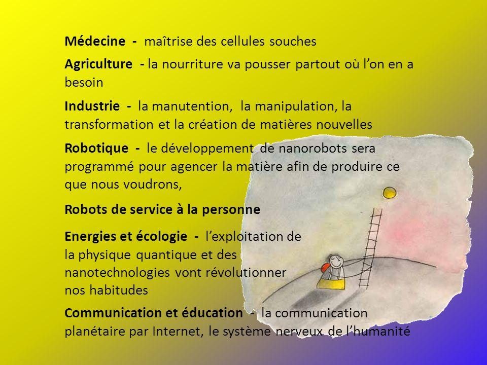Médecine - maîtrise des cellules souches Agriculture - la nourriture va pousser partout où lon en a besoin Industrie - la manutention, la manipulation