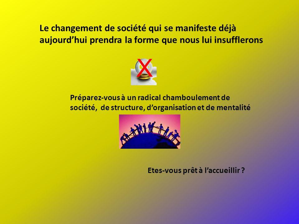 Préparez-vous à un radical chamboulement de société, de structure, dorganisation et de mentalité Le changement de société qui se manifeste déjà aujour